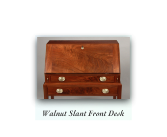 Walnut Slant Top Desk on Frame