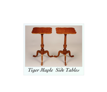 Handcrafted Tiger Maple Side Tables