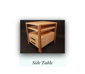 Side Table in Tiger Maple and Birdseye Maple, Contemporary Furniture Maker